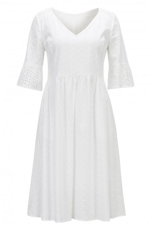 BOSS Tailliertes Kleid Abroidita aus Baumwoll-Voile mit Lochstickerei weiss 100