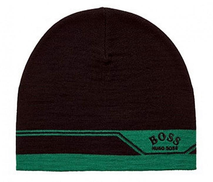 Hugo Boss Mütze Albo_W21_Beanie mit Logo und Jacquard-Artwork schwarz 001