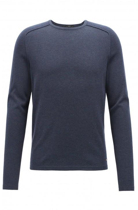 BOSS Pullover AMIROY aus gestrickter Baumwolle mit Paspel-Details dunkelblau 404