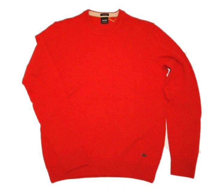 BOSS Pullover AMITROVO mit Rundhalsausschnitt aus italienischem Material-Mix mit Baumwolle und Wolle rot 644