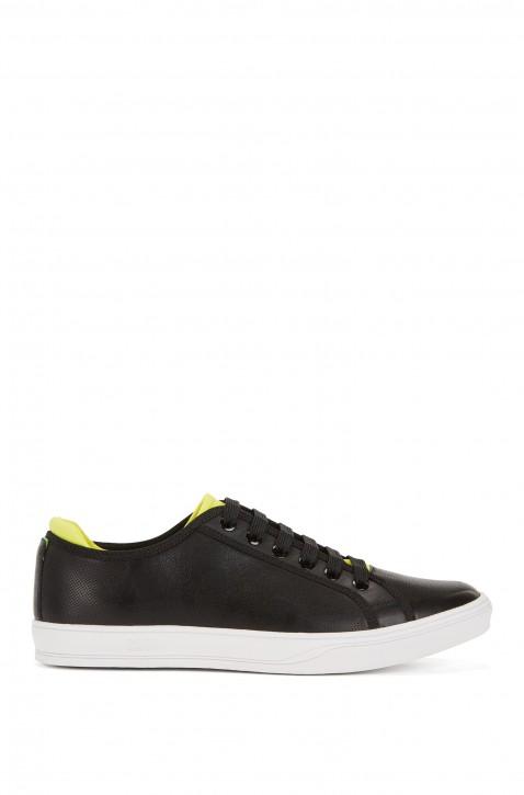 BOSS Ledersneaker Attitude_Tenn_lux im Tennisschuh-Stil mit Loch-Details schwarz