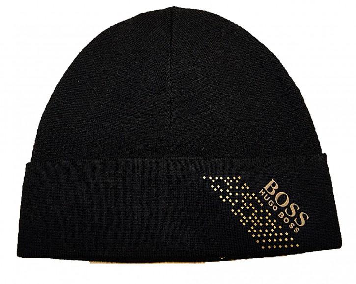 Hugo Boss Mütze Axello_Beanie mit Logo und Mütze mit Logo und Artwork schwarz 001