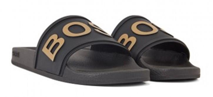 BOSS In Italien gefertigte Slides BAY _SLID_RBLG mit Logo-Riemen und konturiertem Fußbett schwarz/gold 007