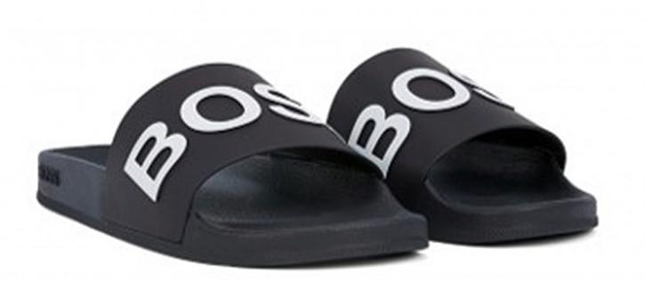 BOSS In Italien gefertigte Slides BAY _SLID_RBLG mit Logo-Riemen und konturiertem Fußbett schwarz 001
