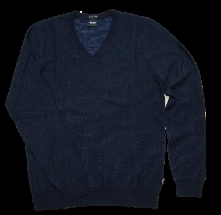 BOSS Pullover BIETRO aus hochwertiger Italienischer  Schurwolle mit V-Ausschnitt  dunkelblau