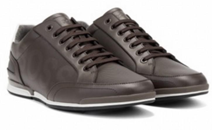 HUGO BOSS Lowtop Ledersneakers Saturn_Lowp_ltpflg mit Perforationen  schwarz 001