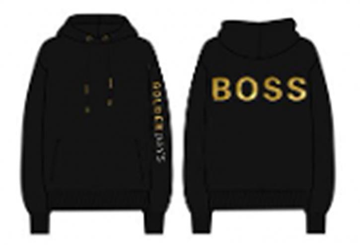 Hugo Boss Damen Kapuzenpulli C_Eustice_Gold mit Goldbuchstaben am Arm schwarz 001