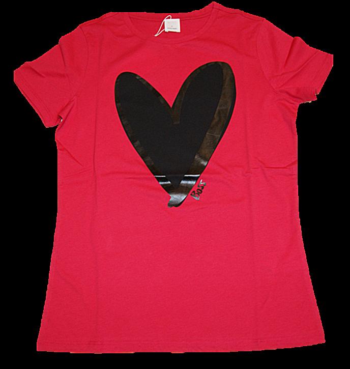 HUGO BOSS T-Shirt C_EJANA aus Baumwoll-Jersey mit Herz Print von JUSTIN TEODORO Farbe  pink 662