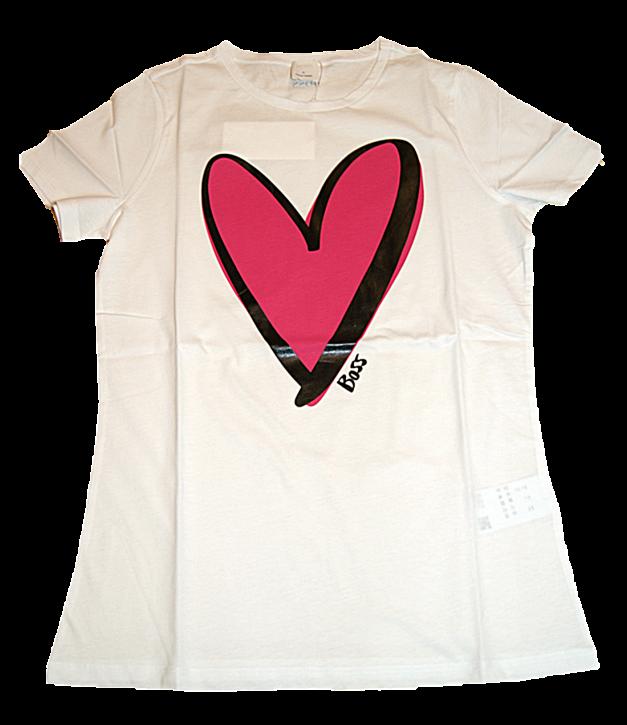 HUGO BOSS T-Shirt C_EJANA aus Baumwoll-Jersey mit Herz Print von JUSTIN TEODORO Farbe weiss 100