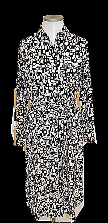 BOSS Regular-Fit Blusenkleid CALLURA aus Seide mit Logo-Print gemustert 960