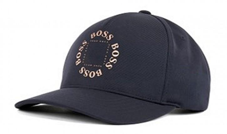 BOSS Cap aus Stretch-Canvas CAP-CIRCLE mit Logo-Schriftzug in Mattgold dblau 410