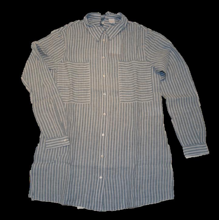 BOSS Regular Fit Leinen Streifen Bluse CATEA mit Brusttasche blau 439