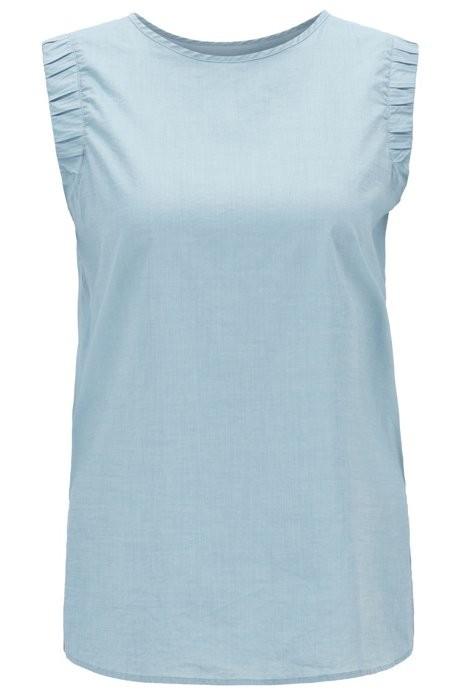 BOSS Ärmellose Regular-Fit Bluse CITRAVEL_2 aus Baumwoll-Mix mit gesmokten Armlöchern blau 439