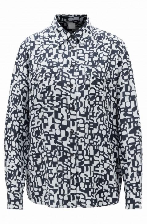 BOSS Regular-Fit Bluse CIVENTI aus Seide mit Logo-Print gemustert  960