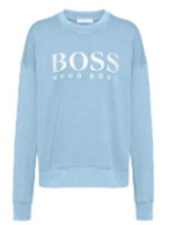 Hugo Boss Stückgefärbtes Sweat-Shirt C_Evinta aus Bio-Baumwoll-Jersey mit Logo-Print Farbe hellblau 421