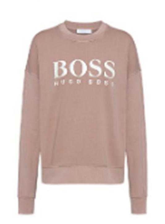Hugo Boss Stückgefärbtes Sweat-Shirt C_Evinta aus Bio-Baumwoll-Jersey mit Logo-Print Farbe Pastel Brown 235