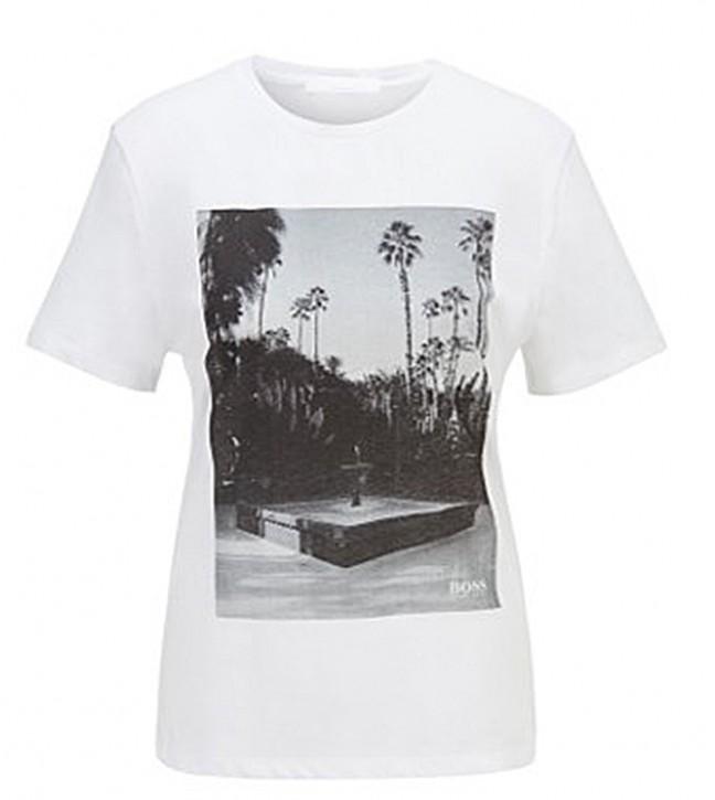 Hugo Boss T-Shirt C_Eima1 aus Bio-Baumwolle mit Rundhalsausschnitt und Foto-Print  weiss 100