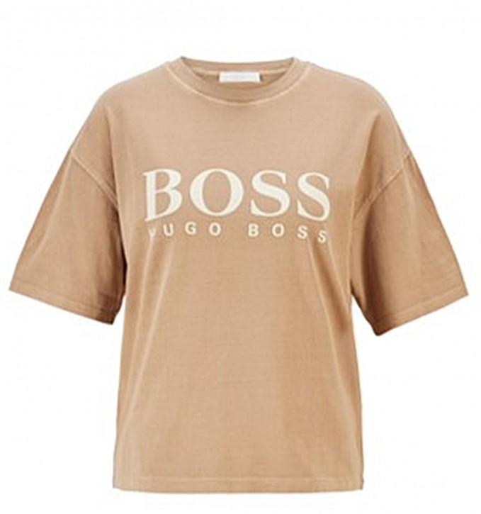 Hugo Boss T-Shirt C_Evina_Active aus Bio-Baumwolle mit Logo hellbraun 237
