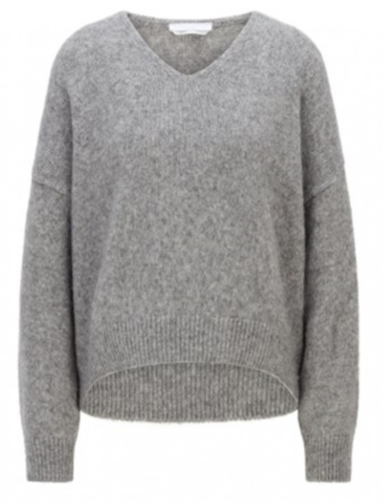 Hugo Boss Relaxed fit geschnittener Pullover C_Fondiana mit V-Ausschnitt und gerippten Abschlüssen  grau 040