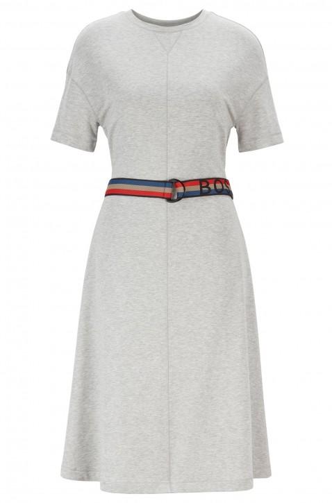 HUGO BOSS Kurzarm-Kleid DEBELT mit gestreiftem Logo-Gürtel grau 040