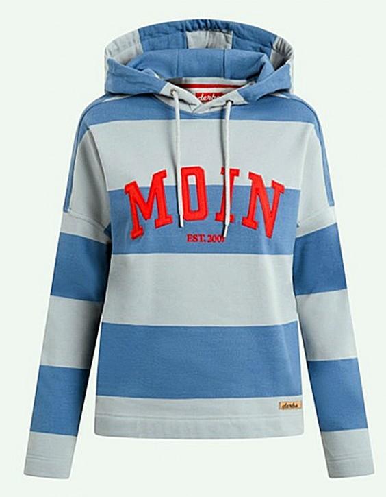 DERBE Moin Girls Damen Hoody Kapuzenpullover Quarry Bijou Blue Grau Blau Streifen