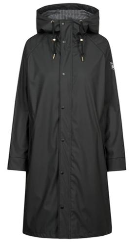 DERBE Damen PU Wittby Flannel  Regenmantel mit Futter schwarz /phantom 091