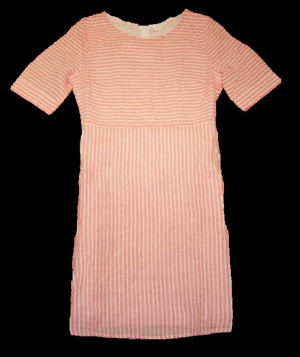 BOSS Kleid ELINNY aus reinem Leinen mit Längsstreifen light orange 835