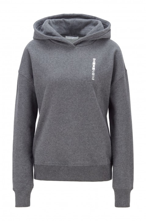 HUGO BOSS Kapuzen-Sweatshirt Eriva1 aus Baumwoll-Mix mit Logo-Print Farbe grau 017
