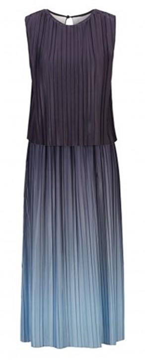 Hugo Boss Mehrlagiges Degradé-Kleid Ezzica aus italienischem Plissee-Stoff grau 963