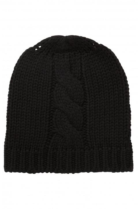 BOSS Mütze  FOSEA aus Woll-Mix mit Zopfmuster Farbe schwarz
