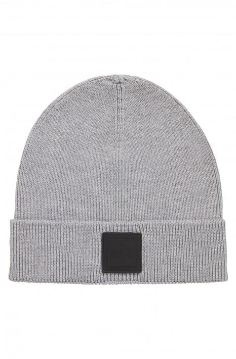 BOSS Mütze FOXX mit Logo-Aufnäher aus Silikon Farbe grau 051