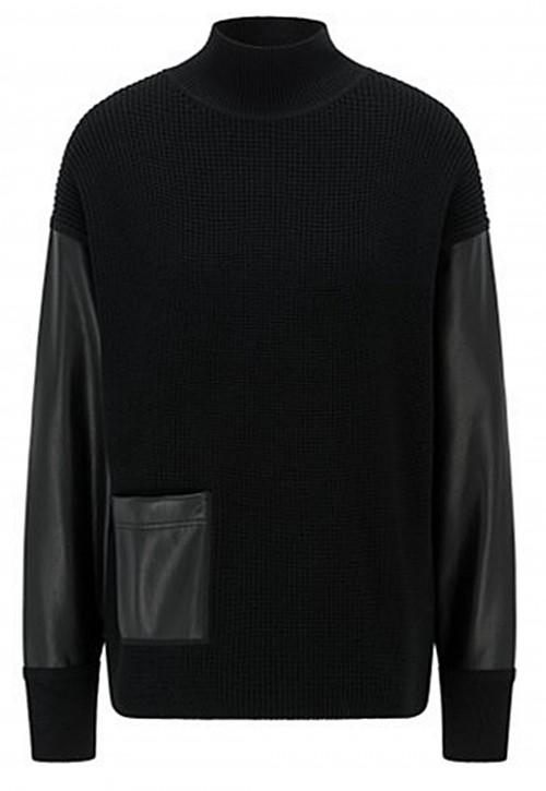 Hugo Boss Relaxed-Fit Pullover Fanalia aus Wolle mit Kunstleder-Einsätzen schwarz 001