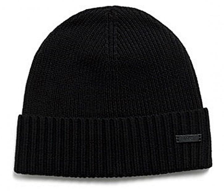 Hugo Boss Mütze Fati-N aus Schurwolle mit Logo-Etikett schwarz 001