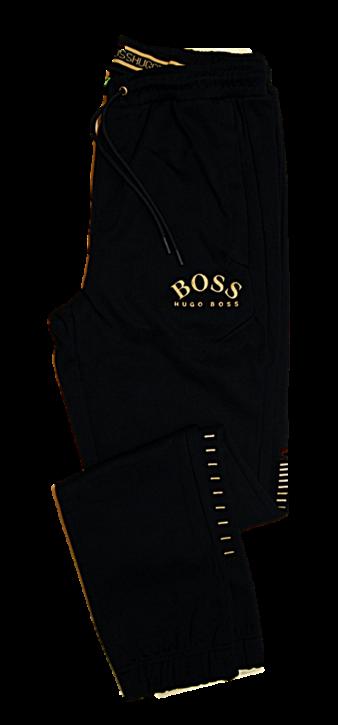 BOSS Slim-Fit Jogginghose HADIKO WIN aus Baumwoll-Mix mit Logo in gold und Beinbündchen schwarz 006