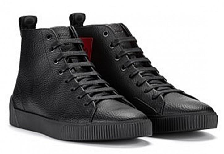 Hugo Boss Hightop Sneakers Zero_Hito_grph aus genarbtem Leder schwarz 001