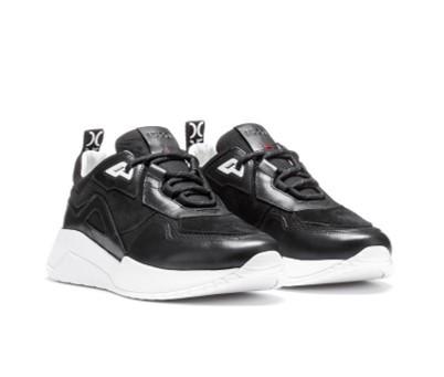 HUGO Robuste Sneakers  ATOM _RUNN_NAMS aus Leder und Material-Mix mit Logo-Schlaufe schwarz 001