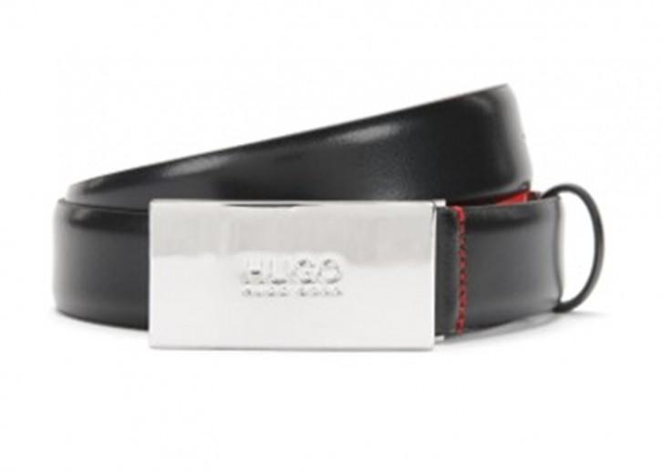 HUGO Ledergürtel BALDWIN-N mit Logo-Detail an der Koppelschließe schwarz 001