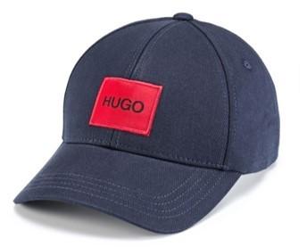 HUGO Cap Men-X 576 aus Baumwoll-Twill mit rotem Hugo Logo-Patch dunkelblau 405