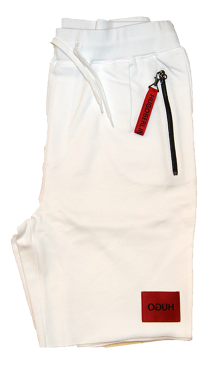 HUGO Relaxed-Fit Shorts DACTUS aus Baumwoll-Terry mit Reisverschlüssen weiss 100