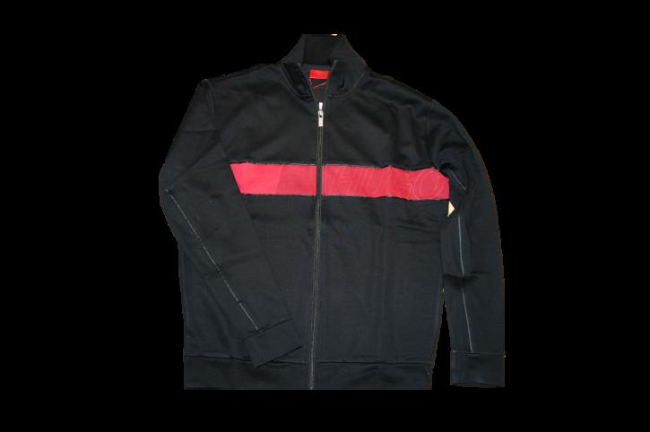 HUGO Sweatjacke DALAIS mit Reißverschluss und Colour-Block-Logo schwarz