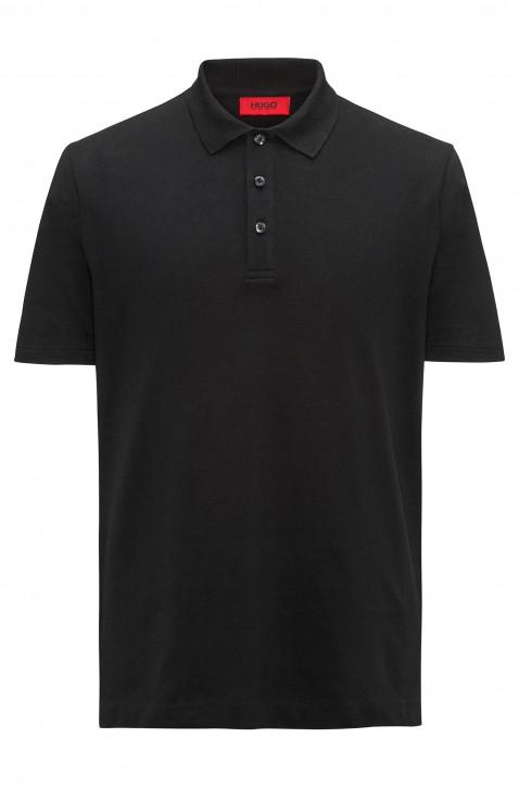 HUGO Poloshirt Darelli aus Baumwoll-Piqué mit Logo-Print hinten am Saum schwarz 001