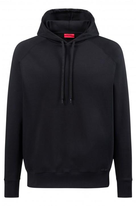 HUGO Sweatshirt Dayfun-U2 aus Baumwolle mit Logo an der Kapuze schwarz 001