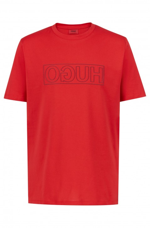 HUGO T-Shirt DICAGOLINO mit Reversed-Logo und Rundhalsausschnit rot 693