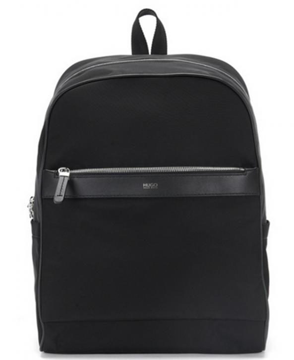 HUGO Rucksack DIGITAL L_BACKP S17 im Zip-Around-Design mit Leder-Details Farbe schwarz 001