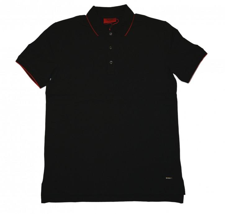 HUGO Polo Shirt DINOSO mit abgesetzten Kragen Farbe schwarz 001