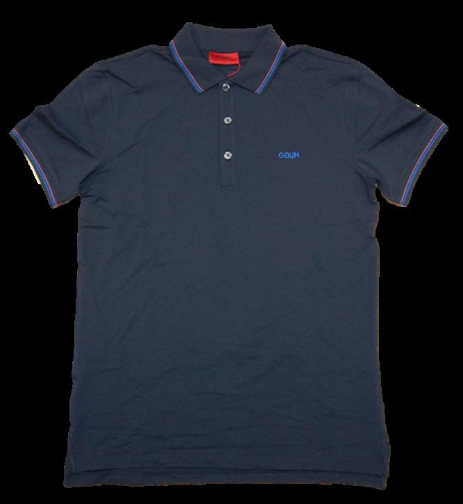 HUGO Poloshirt Dinoso202 aus Stretch-Baumwolle mit Streifen-Einfassung  blau 405
