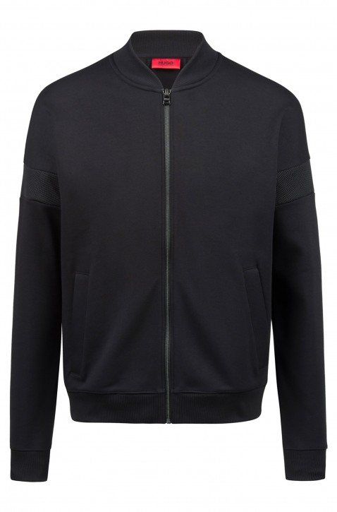 HUGO Sweatjacke DORLEANS aus Baumwolle mit Mesh-Einsatz Farbe schwarz 001