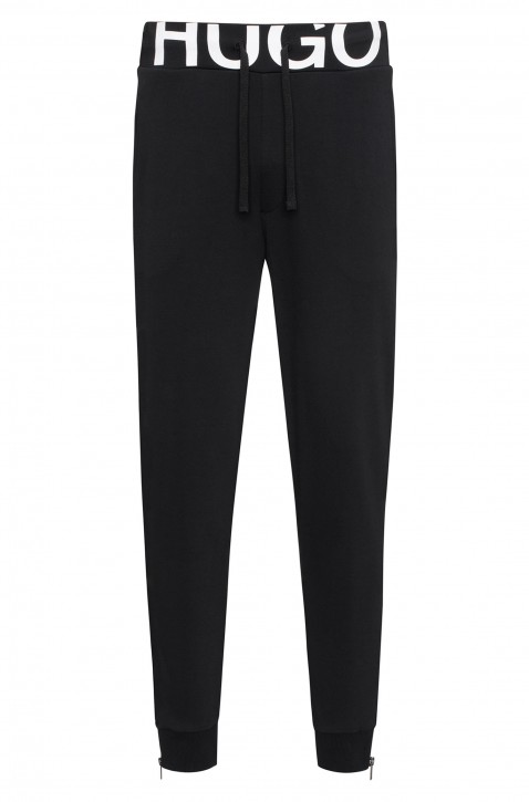 HUGO Regular-Fit Jogginghose Duros aus Baumwoll-Jersey mit Logo-Bund Farbe 001