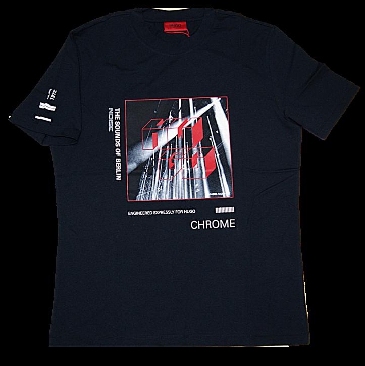 HUGO T-Shirt DWEET aus Baumwolle mit Artwork Print the sound of berlin noise schwarz 001
