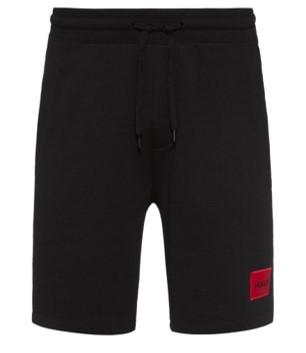 HUGO Relaxed-Fit Diz212 Joggingshorts aus Baumwolle mit Logo-Etikett schwarz 001